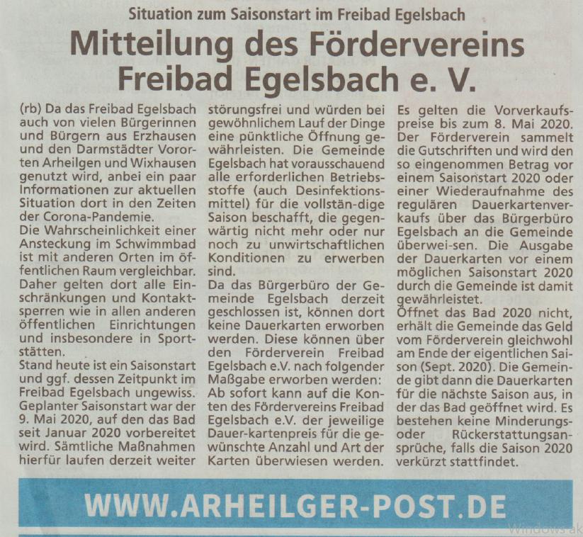 Situation zum Saisonstart im Freibad Egelsbach